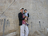 Rahil and Dad at the rock carvings.