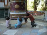 Local kids playing on a mani.
