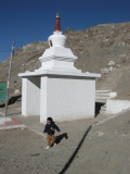 At the entrance to the stairway to Shanti Stupa.
