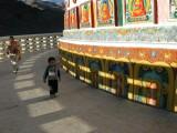 Circambulating Shanti Stupa counterclockwise (the wrong way).