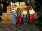 Dad, Rahil, Ravina, Nani, and Nanu at an Ubud Temple.