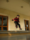 Jumping on the steps of the Italian Cultural Center.