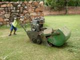 Very heavy lawnmower.