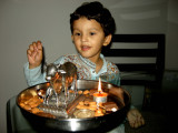 Performing a puja on Diwali