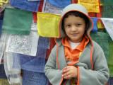 With prayer flags at Chang La.