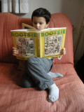 Rahil with Cartoon Books