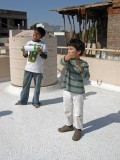 Terrace kite flying with Anand