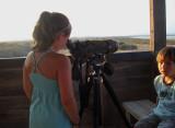 Little girl is birding at the Salinas