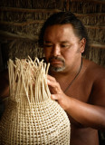 Traditional weaving of fish-catching basket