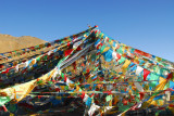 Prayer flags marking the summit of Pang-la Pass 5120m (16,797 ft)
