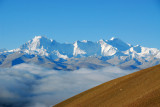 On the right, Cho Oyu 8201m and left, Gyachung Kang 7952m