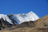 Steep snowy ridge off to the right nearing Rongphu