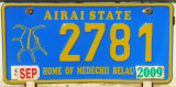Palau License Plate - Airai State, Home of Medechii Belau