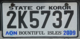 Palau License Plate - State of Koror (black)