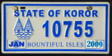 Palau License Plate - State of Koror (blue)