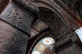 Intricately carved columns, arches and ceiling, Bet Maryam