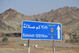From just past the Hatta borderpost, it's 1281km to Salalah in the far south of Oman