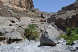 Wadi An Nakhur with steep cliffs both sides