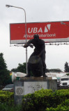 Statue of an African drummer outside Lagos Airport