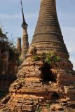 Stupa with a hole bored into it