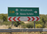 Roadsign for Hosea Kutako International Airport, Windhoek