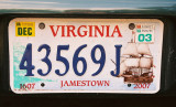 Virginia License Plate - Jamestown