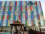 Colorful façade of the Hotel de Convenções de Talatona, Luanda Sul