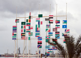 Flags of Africa in their approximate location - note that Morocco is missing, but Sahrawi (Western Sahara) is there
