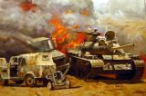 Burning Iraqi tank