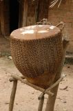 The drum is covered with cow hide