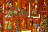 The art is painted on bark cloth produced in Uganda