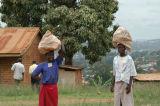 Ugandan girls carrying bundles on their heads