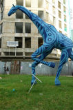 A blue giraffe scultpure, Dar