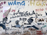 Wall covered with graffiti, Mansfield St, Dar es Salaam