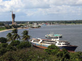 View of Dar es Salaam harbor from the Azania Front Lutheran Church tower