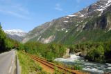 E136, Railroad and Rauma River passing through Romsdal heading south from Åndalsnes