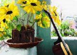 guitar flower 12x8.5