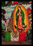 Juan  Diego,  Mexican Flag y La Virgen de Guadalupe