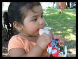 Alina eating ice cream.