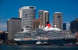 Queen Victoria cruiseliner with Sydney CBD backdrop