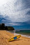 North Avalon Beach with surfboard