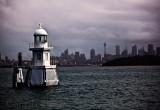 Marker buoy  on Sydney Harbour on a grey stormy day
