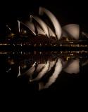 Sydney Opera House reflection at night