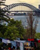 Sydney Harbour Bridge with clothes line