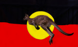Aboriginal  flag with eastern grey kangaroo cutout