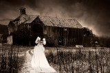 Derelict timber house in Tasmania with bride