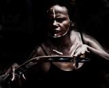 Aboriginal female dancer with boomerang