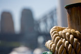 Ropes on Manly ferry with Sydney Harbour Bridge backdrop