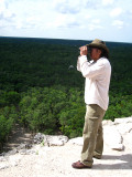 Luis Alberto Ku Quinones atop the ruins at Coba