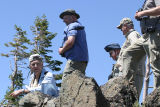 Steve M., Joe W., Tom P., and Ron C. looking over the edge for the Indra Swallowtail.